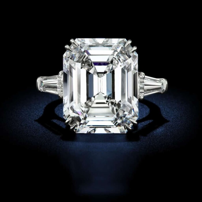 Exquisite Platinum ring consists of 1 Emerald cut diamond weighing 25.03 with a picture-perfect D colorless and a Flawless Type IIa clarity accompanied with a GIA Certificate by David Rosenberg of Rosenberg Diamonds & Co.