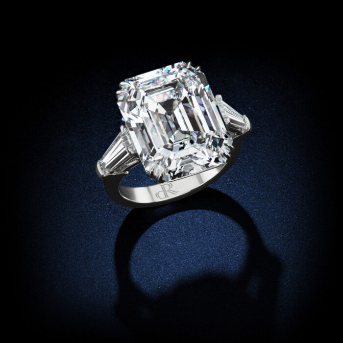 The Ultimate Emerald Cut diamond, a 25-carat D, Flawless type IIa platinum setting GIA certified by David Rosenberg of Rosenberg Diamonds & Co. side view