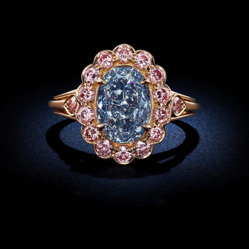 a crossover and pin rings with set design ring fancy diamond of pink pear orangy