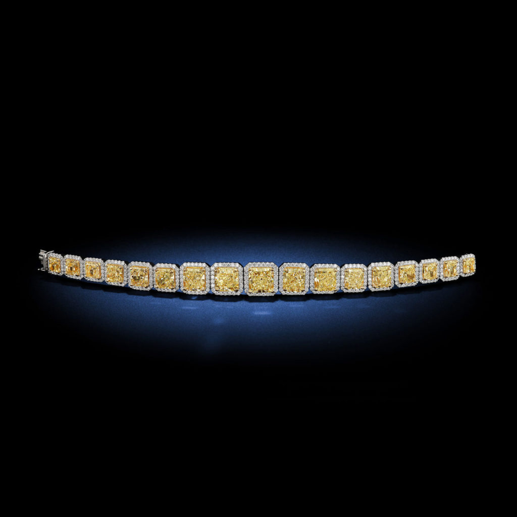 A glowing Radiant shape 35.50 carat total weight fancy yellow diamond bracelet designed by David Rosenberg of Rosenberg Diamonds & Co.