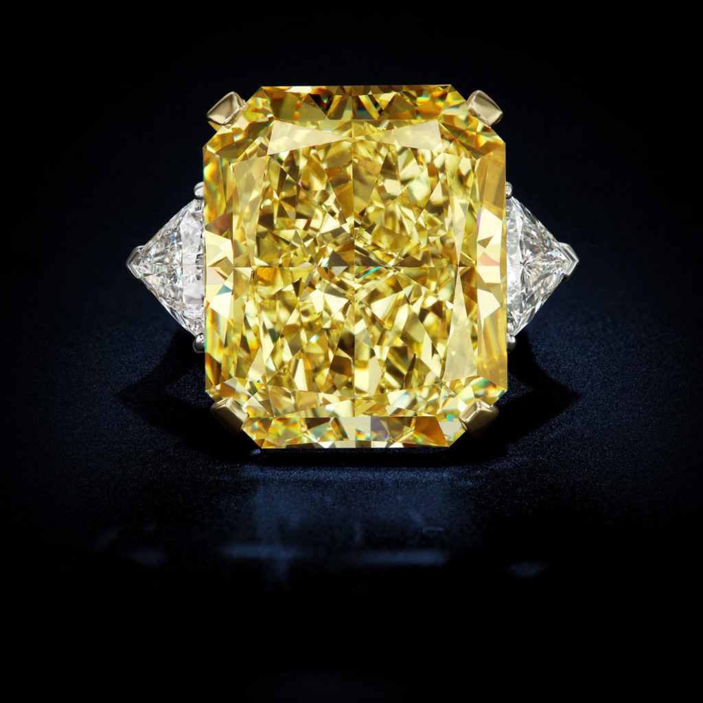 37.44 Carat Internally Flawless Fancy Intense Yellow Canary Radiant Shape Diamond Ring GIA Certified by David Rosenberg of Rosenberg Diamonds & Co.
