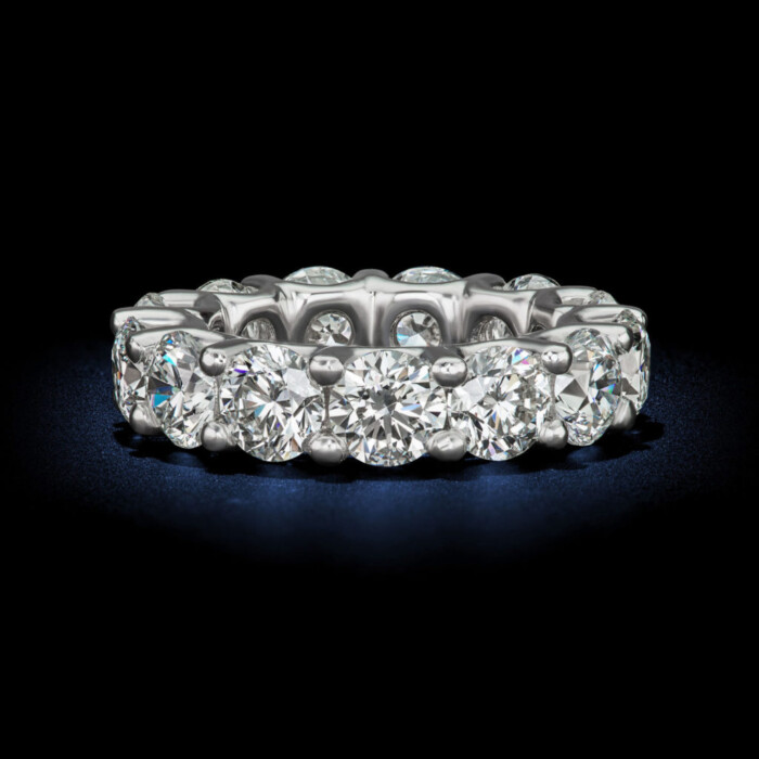 Captivating womens eternity wedding band round brillant shape diamond ring GIA Certified designed by David Rosenberg of Rosenberg Diamonds & Co.