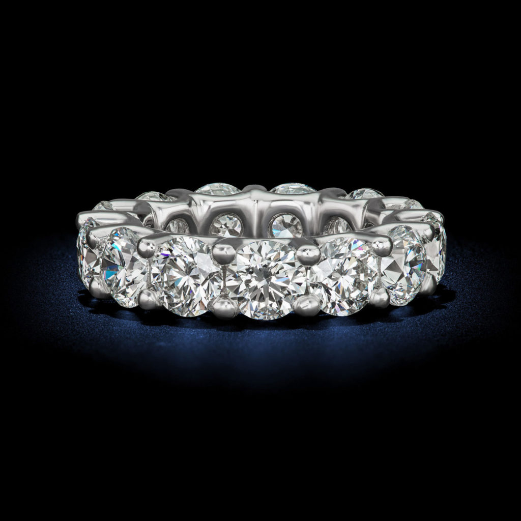 Captivating womens eternity wedding band round brillant shape diamond ring GIA Certified designed by David Rosenberg of Rosenberg Diamonds & Co.