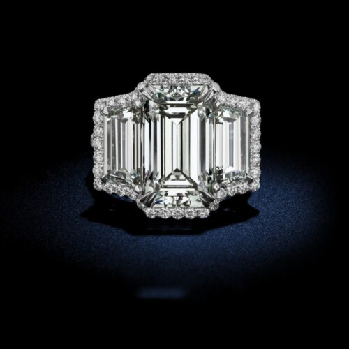 large-emerald-cut-triple-diamond-ring
