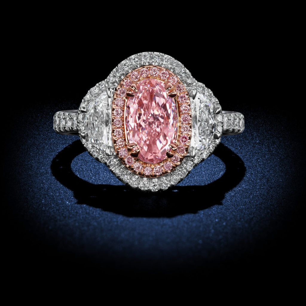 Fancy Color Pink Oval Diamond Ring