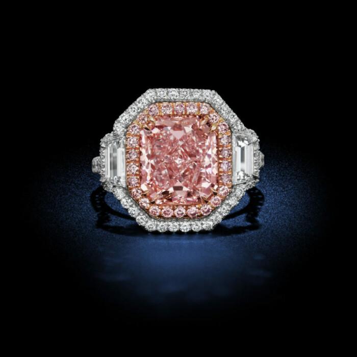 4.18 Carat Fancy Pink Internally Flawless Diamond Ring