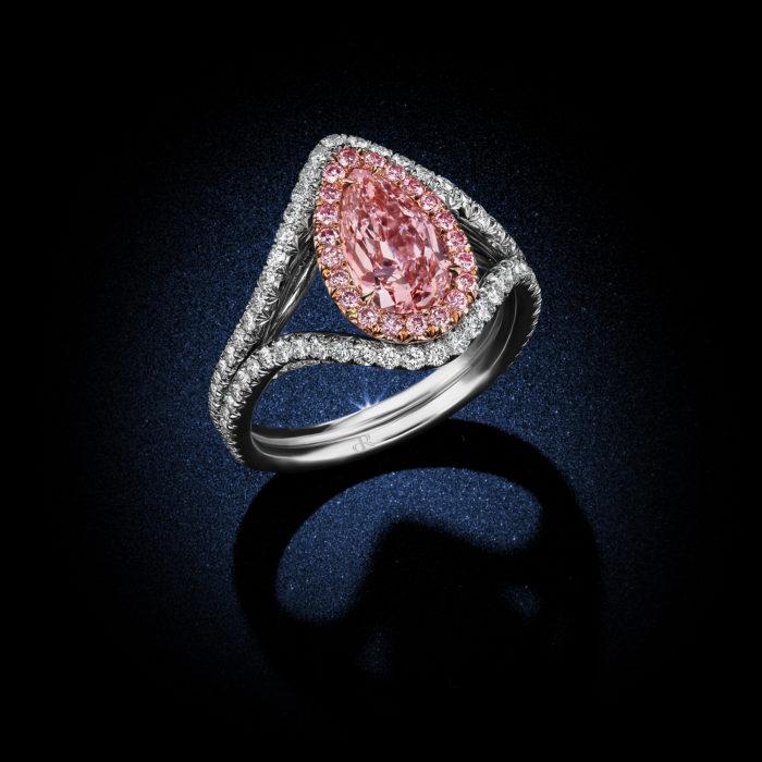 Fancy Purplish Pink Pear Shaped Diamond Ring Side