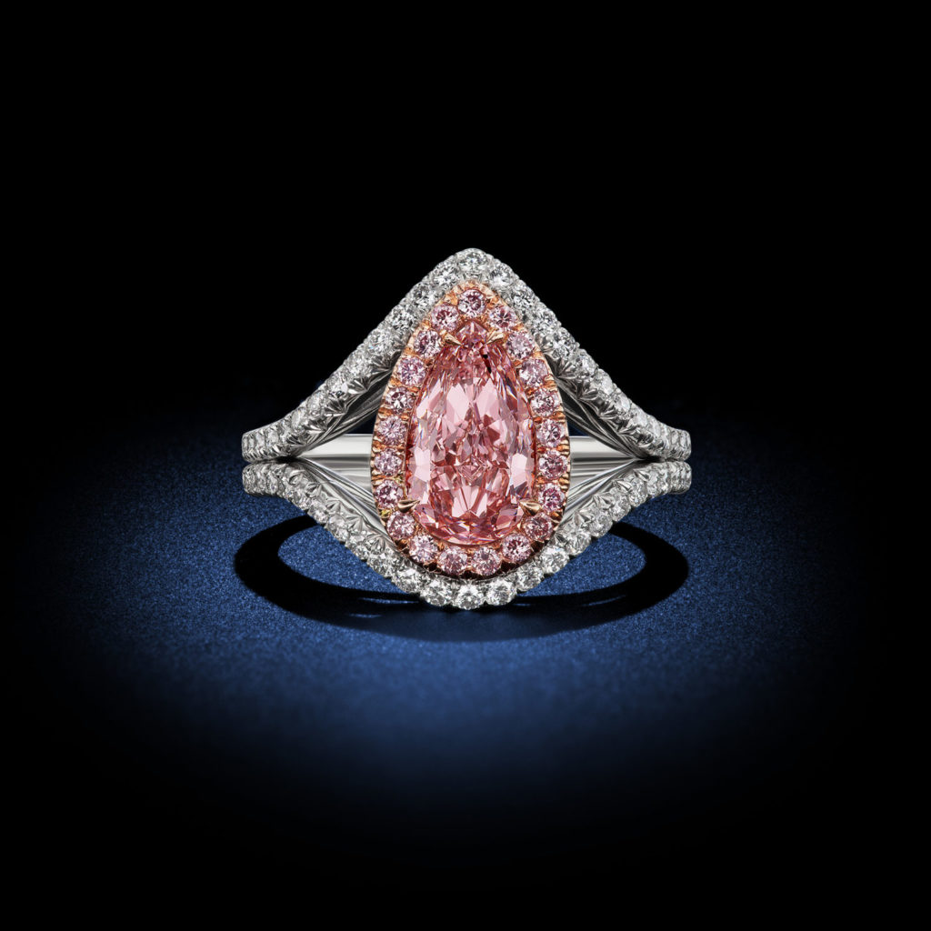 Fancy Purplish Pink Pear Shaped Diamond Ring