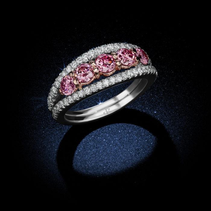 Fancy Intense Pink Diamond 5-Stone Platinum Ring Side