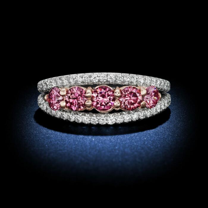 Fancy Intense Pink Diamond 5-Stone Platinum Ring