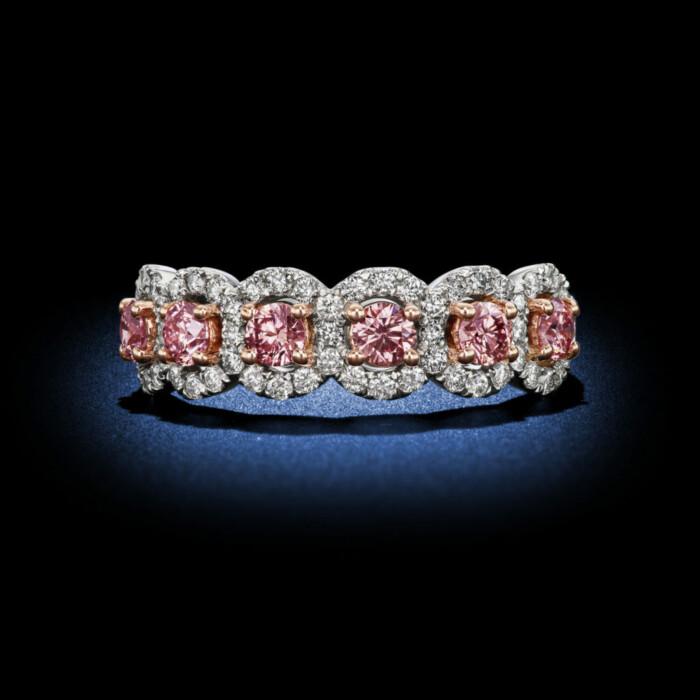 Argyle Pink Round Diamond Half Eternity Band