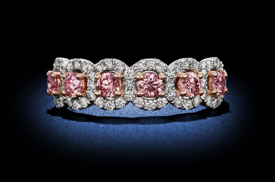 Argyle Pink Round Diamond Half Eternity Band Rosenberg