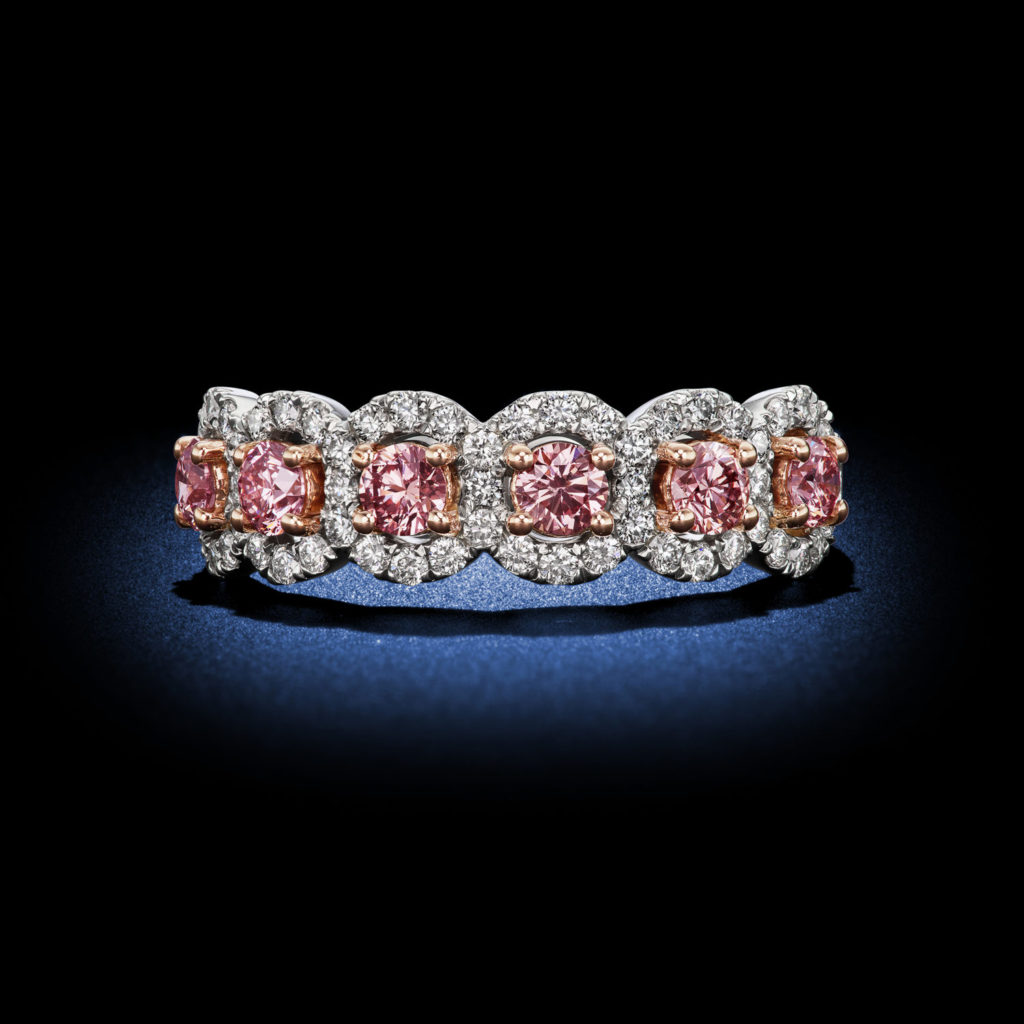 Argyle Pink Round Diamond Half Eternity Band