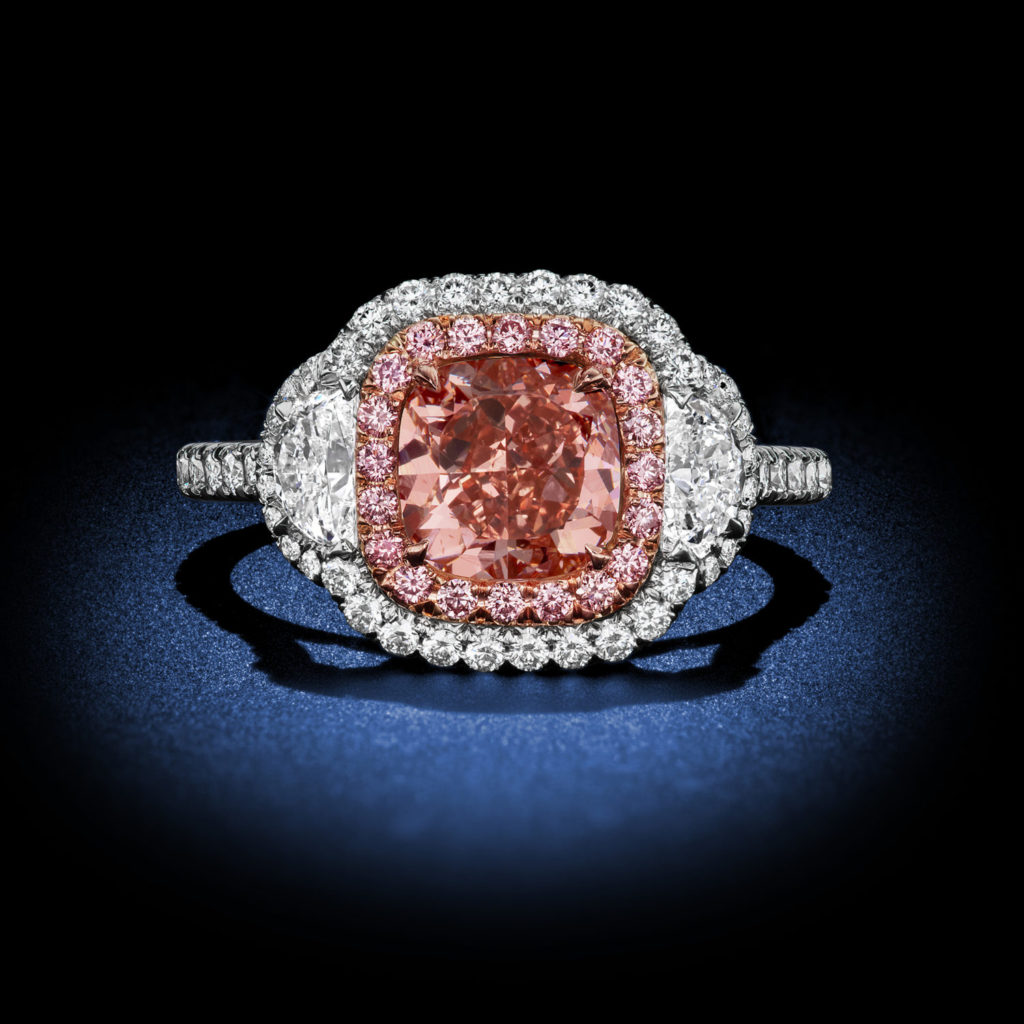 Argyle Pink Cushion Cut Diamond Ring