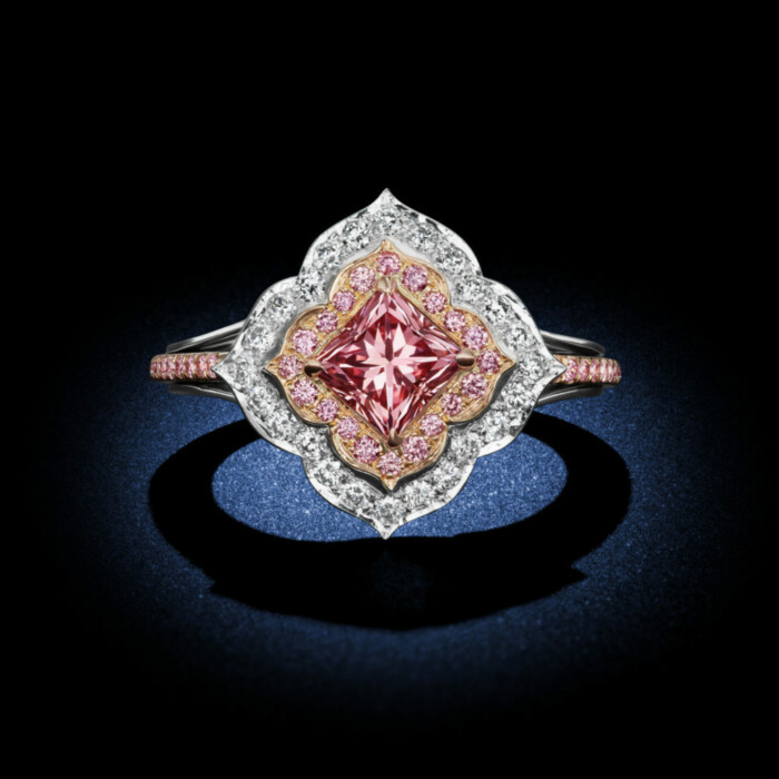 Argyle Pink Princess Cut Diamond Ring with floral design showing countless pink and white diamond accents in rose gold