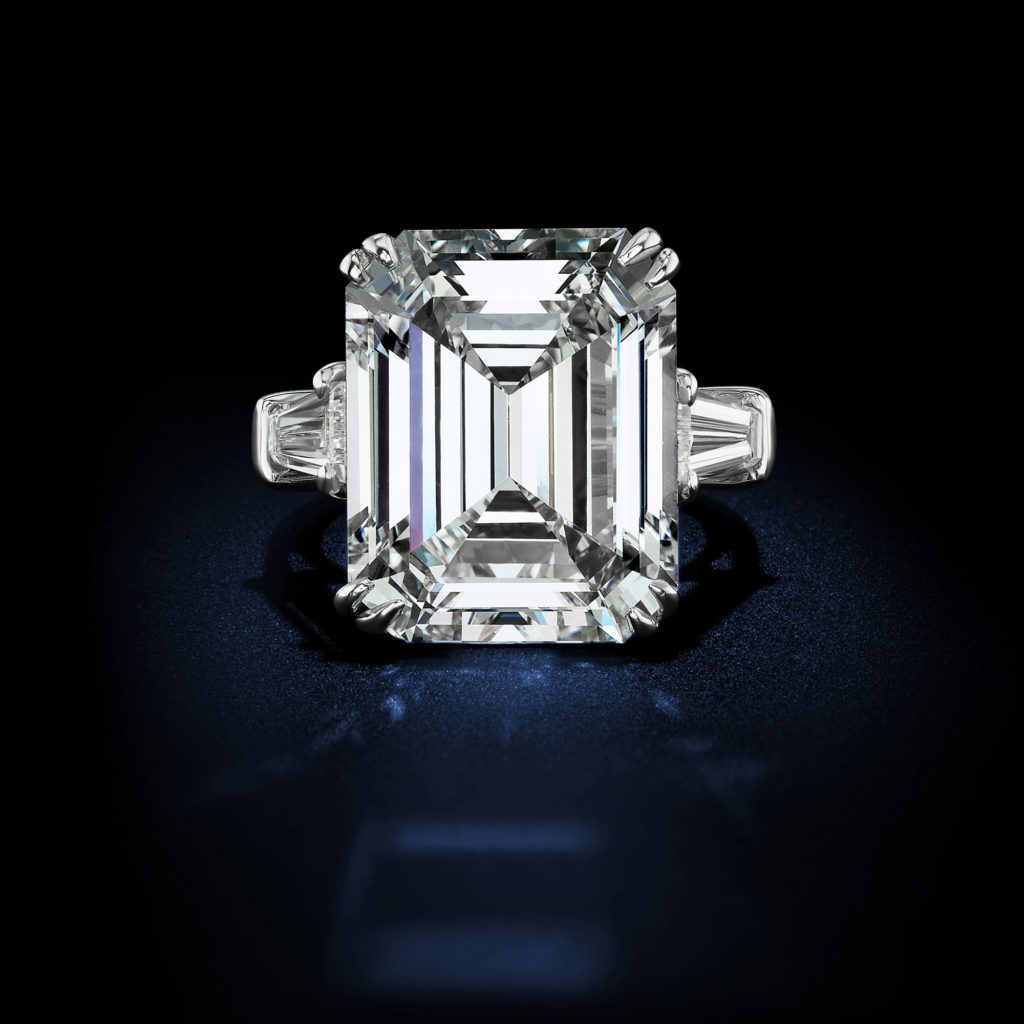 10 10 Carat E Vvs1 Emerald Cut Diamond Ring Rosenberg