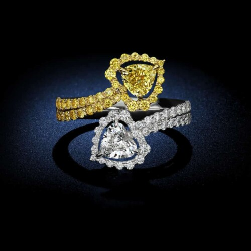 Two-Tone-Heart-Shape-Diamond-Yellow-Trillion-Diamond-Ring