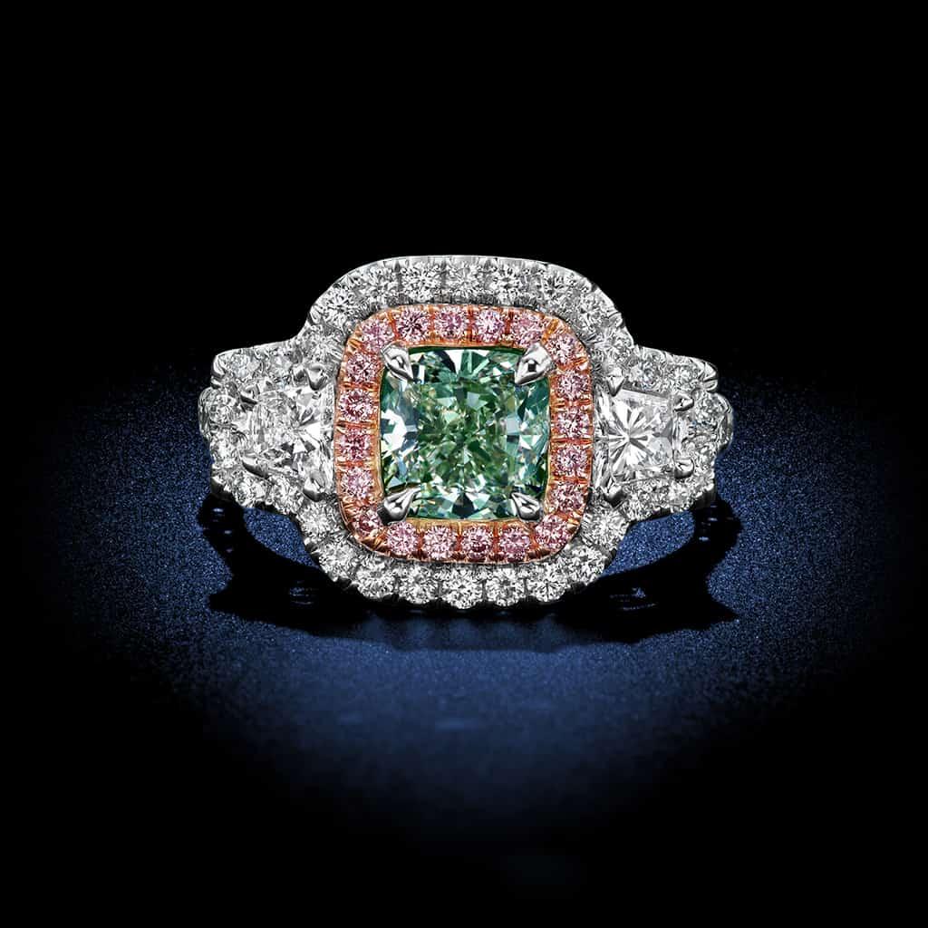 cushion-cut-green-fancy-color-diamond-ring
