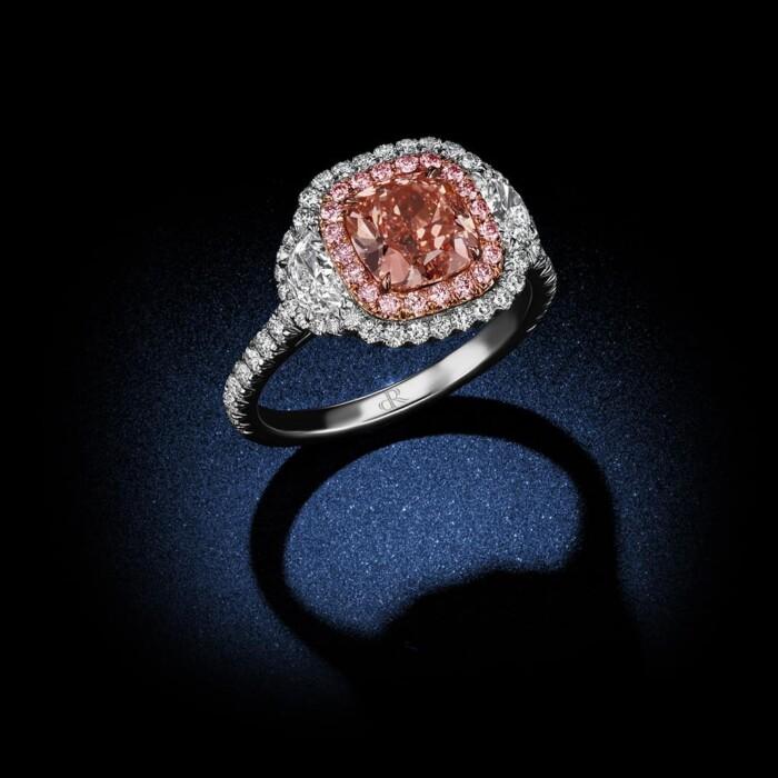 Fancy-Orangy-Pink-Cushion-Cut-Diamond-Engagement-Ring