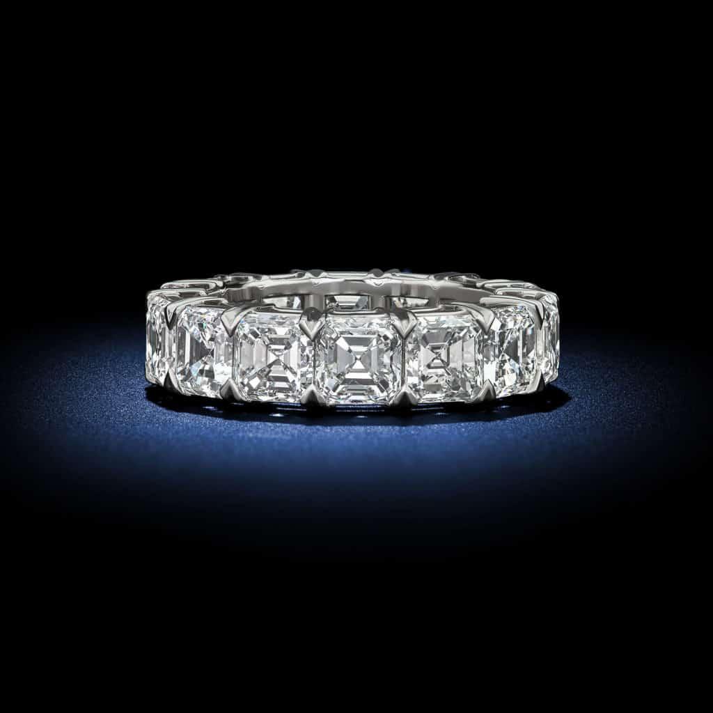 asscher-cut-diamond-platinum-eternity-wedding-band