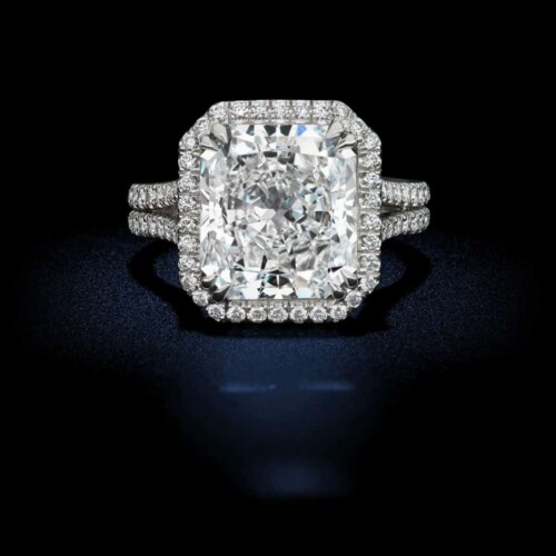 Radiant-Cut-Round-Brilliant-Halo-Setting-Diamond-Engagement-Ring