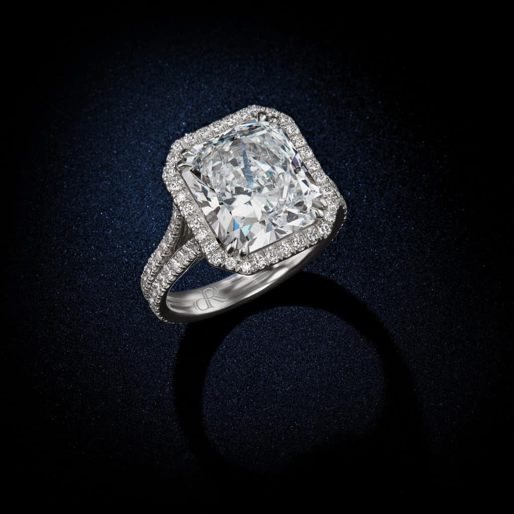 Radiant-Cut-Round-Brilliant-Halo-Setting-Diamond-Engagement-Ring