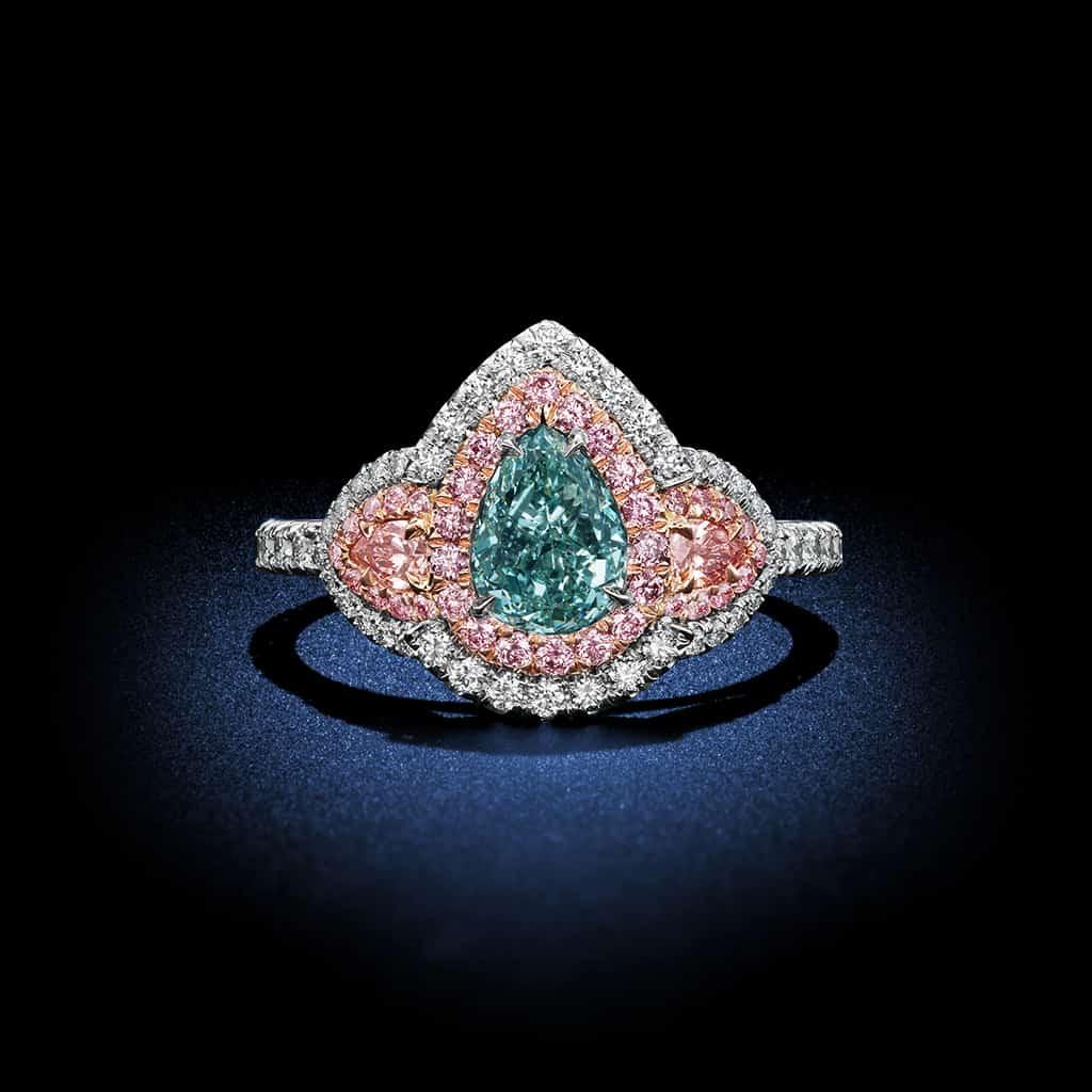 pear-shaped-fancy-bluish-green-diamond-3-stone-engagement-ring