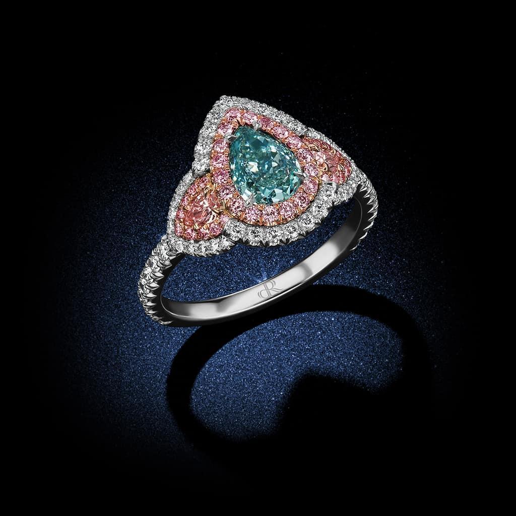 94 Carat Pear Shaped Fancy Bluish Green Diamond 3 Stone
