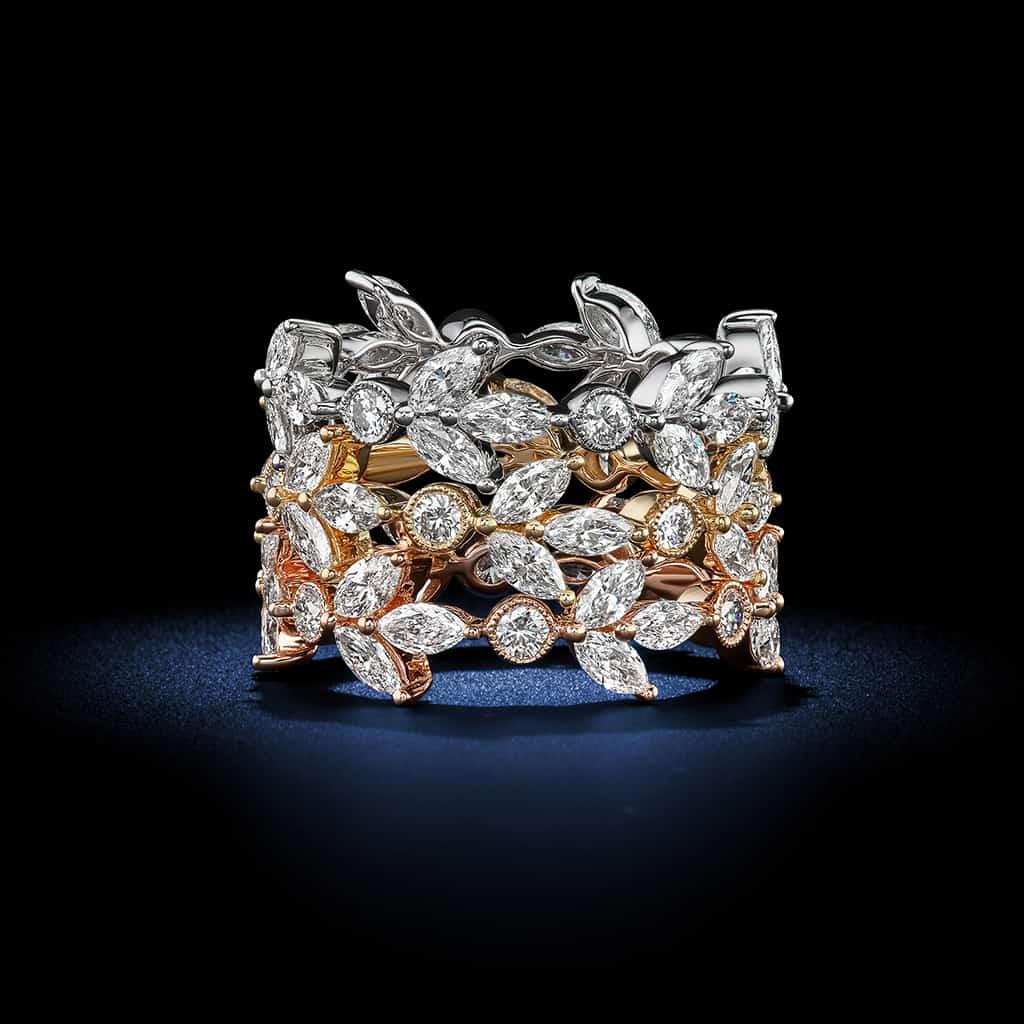 Tri-tone-Floral-Diamond-Eternity-Bands