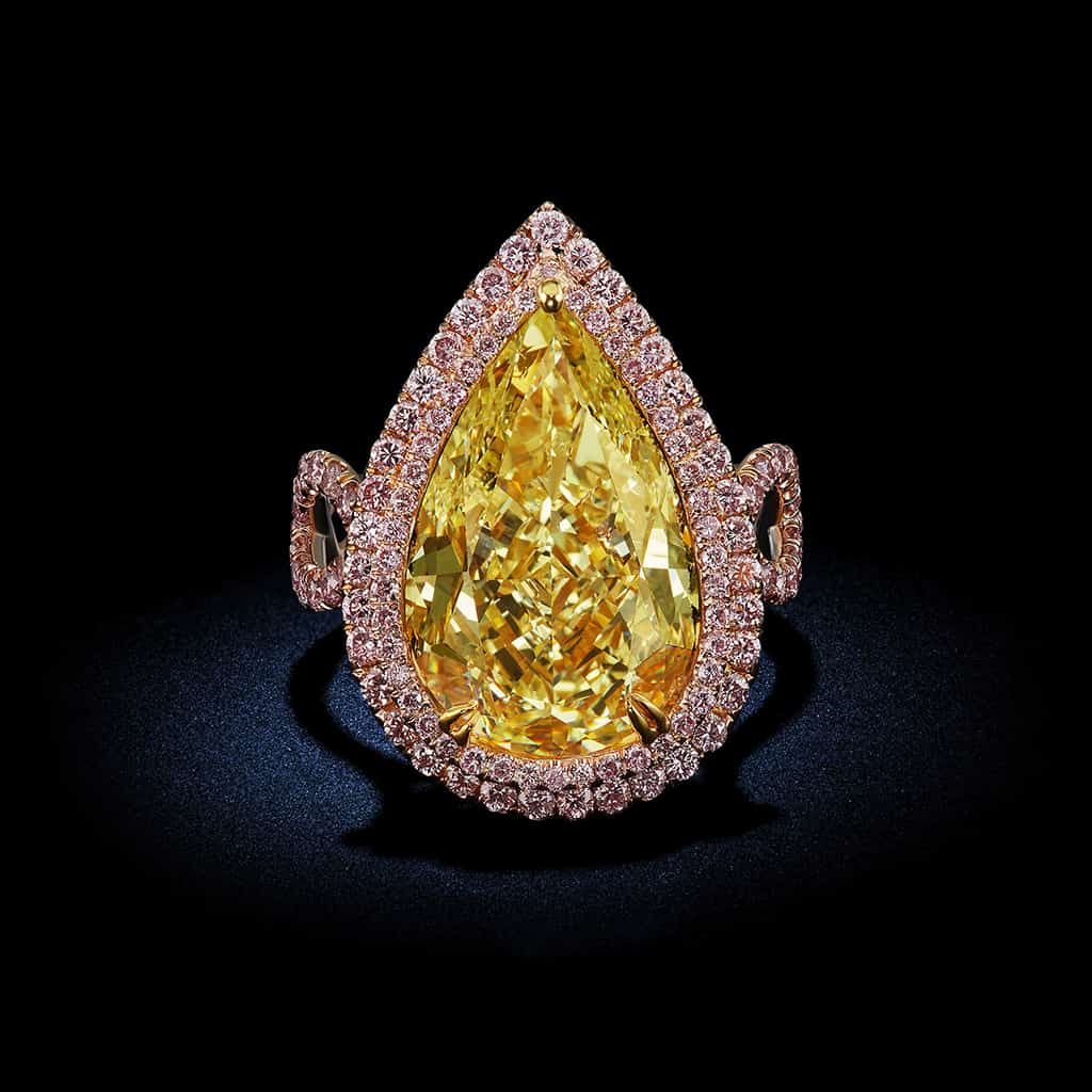 large-Pear-Shape-Fancy-Intense-Yellow-Diamond-Round-Brilliant-Pink-Diamond-Halo-Setting-Engagement-Ring