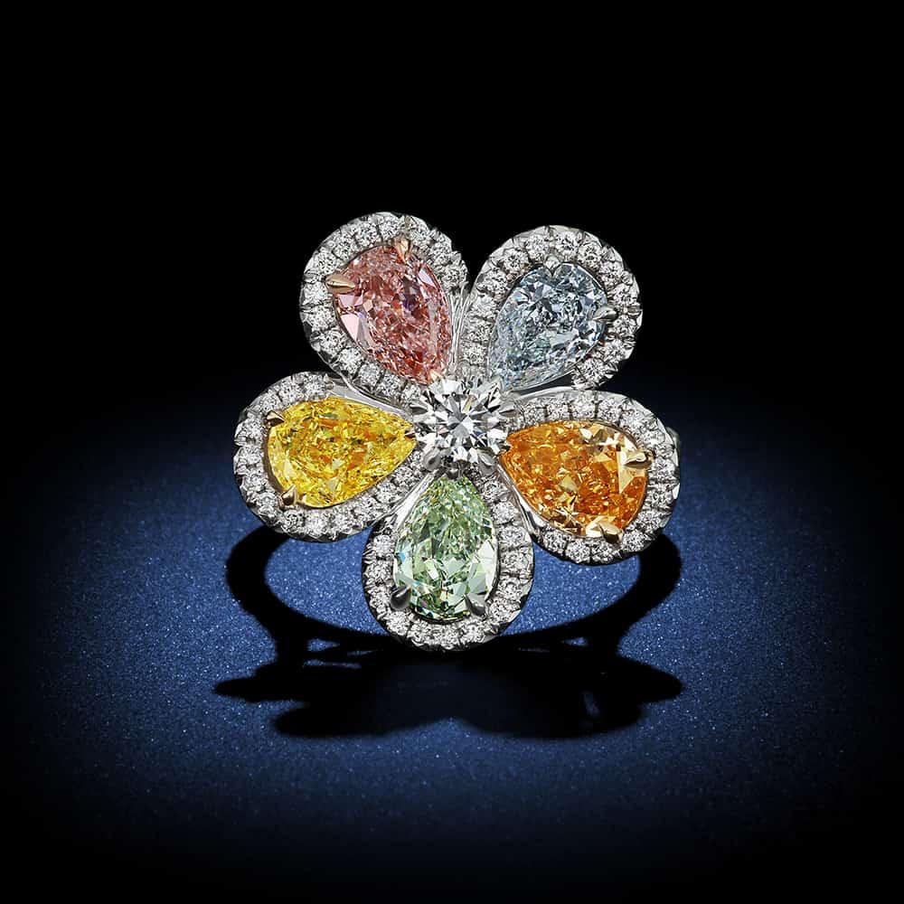 pear-shaped-multi-fancy-color-diamond-flower-ring